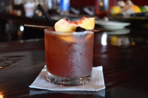 A sumptuous peach old fashioned.
